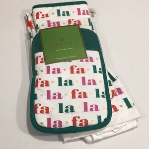 KATE SPADE Christmas 3 Piece Towel and Mitts